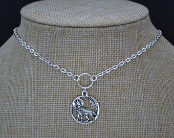 """WOLF MOON O Ring Silver Plated Necklace, Cable Chain, 16"""" 18"""" 20"""""""