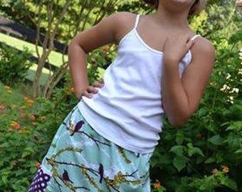 Joel Dewberry Plum sparrow 2 pocket skirt  (2T, 3T, 4T, 5T, 6, 7, 8, 10)