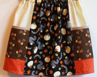 Squirrels and Pumpkins  big pocket   skirt   (2T, 3T, 4T, 5T, 6, 7, 8, 10)
