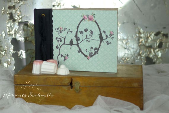 Note book bird flowers, secret book or guest book shabby style