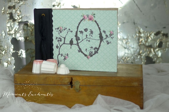 Saint Valentin Note book bird flowers, secret book or guest book shabby style
