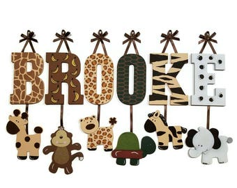 9 LETTER NAME -Individually Hanging Block Letters with adorable hanging shapes/animals jungle zoo safari Any Theme