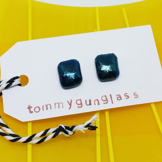 Black Glass Stud Earrings