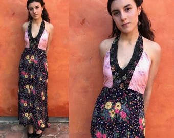 Vintage 1990s does 1970s halter maxi dress. Patchwork. summer boho dress. gypsy dress xs small. Upcycled dress OOAK