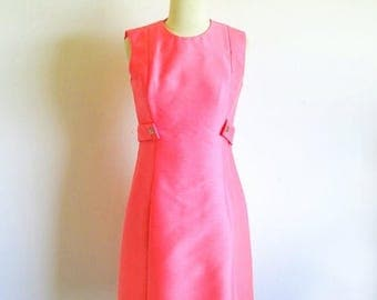 1/2 Off SALE Vintage 60s Hot Pink Mod Silk Dress