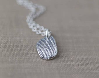 Shell Fragment Necklace, Gift for Women, Sterling Silver Necklace Handmade Jewelry Gift, Womens Gift Ideas by Burnish