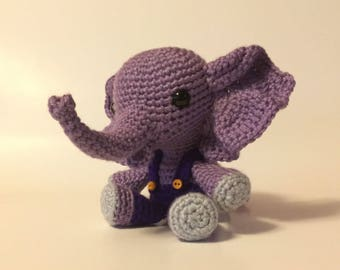 Crocheted Elephant  - Made to Order -  Nursery decor - Stuffed Animal -  Amigurumi
