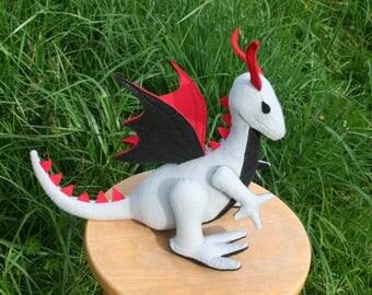 Wild Majestic Dragon Fantasy Plush ~ Eco Friendly, Handcrafted Eco Felt, Stuffed Animal Toy, Boys Gift, Grey Black Red, Stuffed Dragon Toys