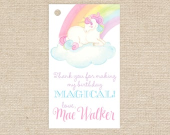 Watercolor Unicorn Favor Tags/Enclosure Cards