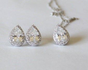 Silver Bridesmaids gift set, Tear drop CZ necklace earrings SET, Cubic Zirconia gifts,  Bridal jewelry set, Pear CZ necklace and earrings