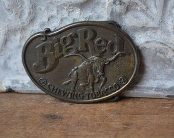 Vintage Belt Buckle, Vintage Brass Big Red Belt Buckle, Vintage Advertising Belt Buckle