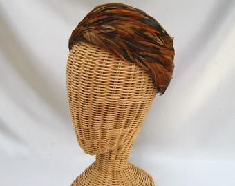 Vintage Ladies Feather Hat Shades of Brown Pheasant Pillbox