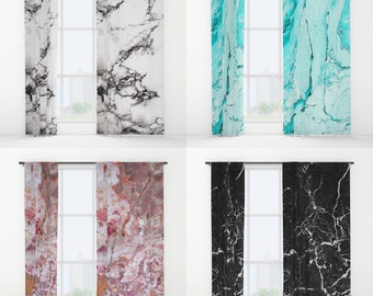 """Marble Window Curtains 50"""" x 84"""" Black White Blue Pink Neutral Mauve Rust Grey Purple Turquoise Teal Stone Texture Girls Dorm Teen Bedroom"""
