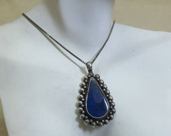 Lapis Lazuli Sterling Silver Pendant Necklace, 21 Inch Sterling Box Chain,