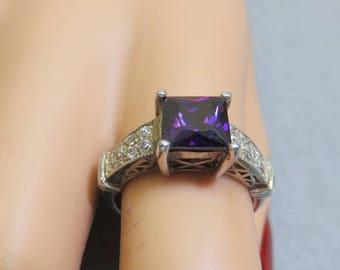 Big Bold Deep Purple Square Amethyst Cubic Zirconia Ring,  Size 7, Gorgeous Setting