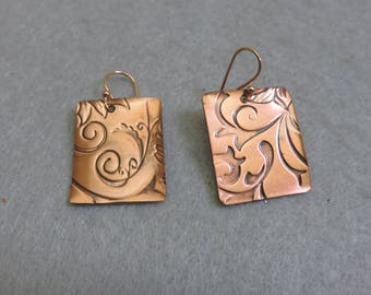 Vintage Embossed Copper Panel Pierced Earrings, French Hook Style