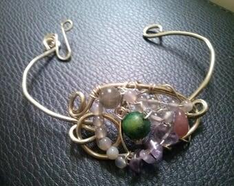 Gemstone silver bracelet,ARTISAN WIREWORK bracelet,multistone bracelet,wirewrap statement bracelet,contemporary bracelet by magyartist
