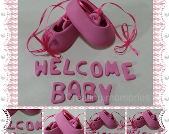 BALLERINA Slipers. Baby Shoes Cake Topper Made of Vanilla Fondant for your baby girls ready to place on your cake or center piece. Any color