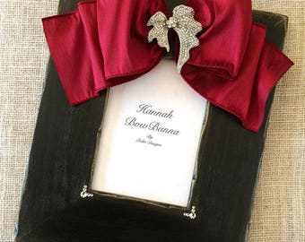 Photo Frame with Bow Personalize Baby Girl Wedding Gift Idea Jewel Picture Frame Christmas Family Portrait Traditional Decor Ebony Black