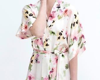 Samantha Silk Bridal Robe Satin Kimono Getting Ready bridesmaids printed in Watercolor Dreams floral