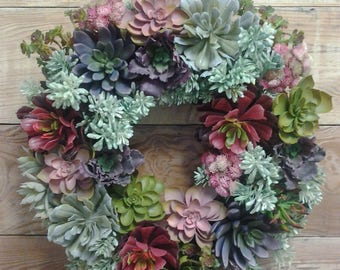 Succulent Wreath-Succulent Decor-Succulent Door Wreath-Faux Succulent Wreath-Succulents-Succulent Decoration-Summer Wreath-Spring Wreath