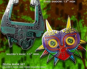 Legend of Zelda Mask Pin Set / Fused Shadow / Majoras Mask / Twilight Princess  / Hard Enamel Pin / Lapel Geek Pin