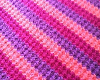 Corner to Corner Baby Blanket - Diagonal Stripe Baby Blanket in Gradient Shades of Purple and Pink - 38 inches square
