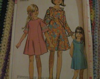 Vintage SIMPLICITY Pattern #7522...sz14...Girls .....Dress....1967... #142...