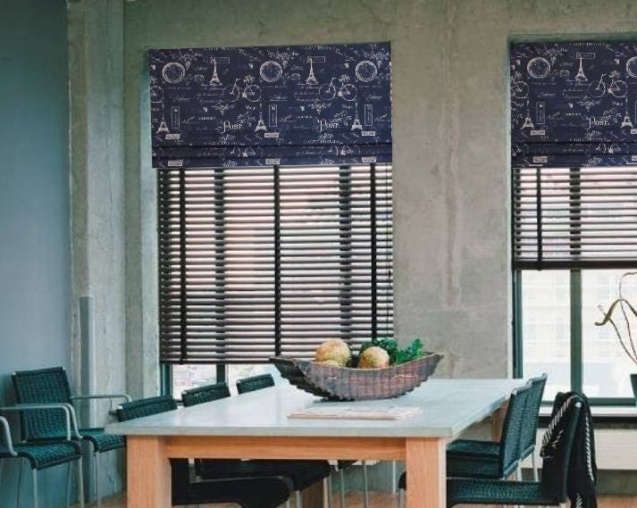 faux roman shade lined mock valance paris navy blue or choice. Black Bedroom Furniture Sets. Home Design Ideas