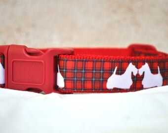 Dog Collar -Tartan Scottie or Westie Dog - 50% Profits to Dog Rescue