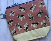 French Bull Dog Project Bag | Medium Size Bag | Zipper Pouch | Crochet Project Bag | Knitting Project Bag | Make Up Bag | Yarn
