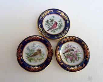 Miniature Bird Plates ,Cardinal,Diamond firetail, Song thrush, Franklin Porcelain, limited edition 1983