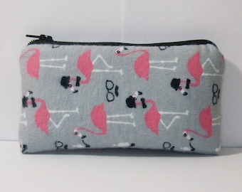 """Pipe Pouch, Smoking Flamingos, Pipe Case, Padded Pipe Bag, Padded Pipe Pouch, Zipper Pouch, Weed, Stoner Gift, Smoke Accessory - 5.5"""" SMALL"""