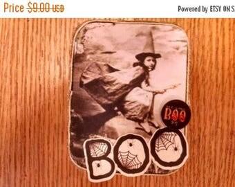 5 DOLLARS off in HOLIDAYS Boo Frightful Tin, Altered Tin, Halloween Decor, Halloween Tin, Keepsake Tin, Upcycled Tin, Recycled Box, Vintage