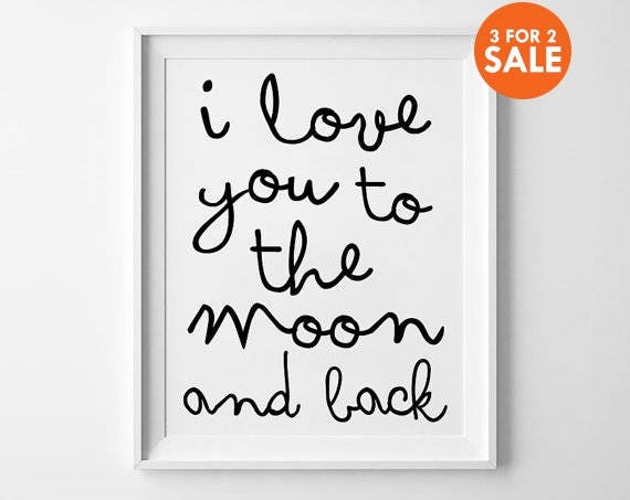 moon print nursery decor wall art kids room decor poster. Black Bedroom Furniture Sets. Home Design Ideas