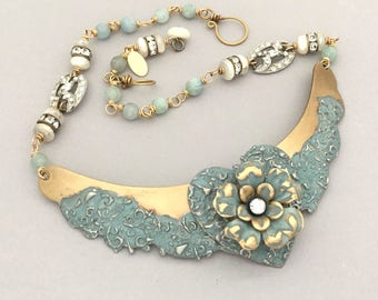 Unique Statement Necklace - Flower Summer Necklace - Summer Jewelry Necklace - Mixed Media Collar Necklace - Handmade Romantic Necklace Gift