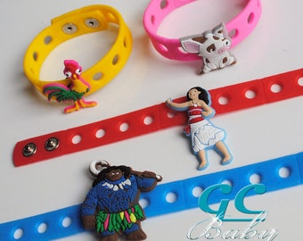 Moana Themed Bracelets for Gift and Birthday Party Favors - Adjustable Silicone bracelets with Charms