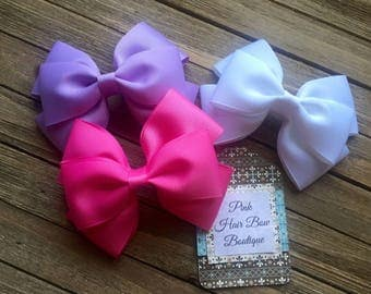 Boutique Hair Bow Lot Pink Lavender White Set of 3 Boutique Hair Bows Boutique Hair Bow lot Hair Clip lot Hair Bow lot