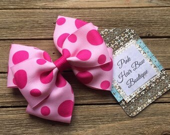 Pink polka dot hair bow , 4 inch hair bow , stacked hair bow ,  pink hair clip , summer hair bow , hair bows for girls