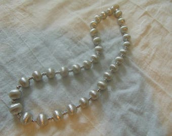 vtg nolan miller necklace pave crystal snap clasp silver satin beads necklace statement nm