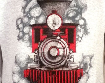 vtg 80s 90s Retro gray 1993 Trains Sweatshirt Railroad Engine Caboose indie SZ M