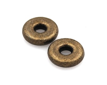 Rustic Antique Bronze Donut Spacer, 9.5mm round -50