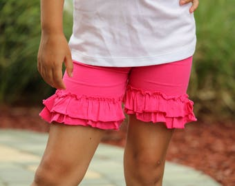 Hot Pink Ruffle Shorties, Hot Pink Ruffle Shorts - pretty pink knit ruffle shorties sizes 6m to girls 10 - Free Shipping