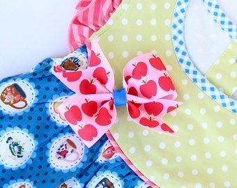 MJ Bows - Apple A Day Lucy - small bow made to match Matilda Jane Clothing, Back To School