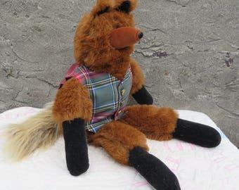 """Vintage Musical Stuffed Fox Plaid Vest Clock Buttons 25"""" Zippety Do Dah"""