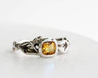 Citrine,Leaf Twig Engagement Ring,Sterling Silver Twig Fine Jewelry