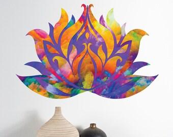 Watercolor Lotus Blossom Wall Decal