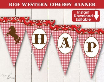Western Red Cowboy editable printable (immediate download) party banner