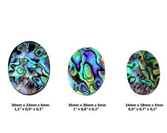 Paua Shell Cabochon Stone - Set of 3 Pieces - Cabochon Set - Abalone Shell - Abalone Cabochon - Abalone Stone - Multicolor Abalone