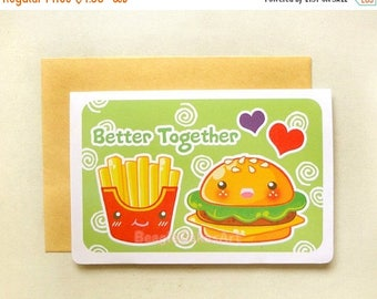 20% OFF Hamburger and Fries Card. Kawaii Stationery. Valentine's Day Card. Friendship Card. I Love You Card. Anniversary Card. Best Friends